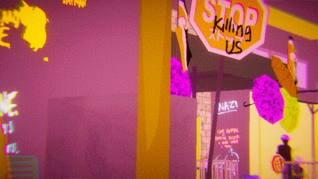 A screenshot from Umurangi digital in bold colours of purple and yellow. A Stop sign is in the centre frame, with 'killing us' scrawled across it. Graffiti visible in the background includes the word Nazi in capitals.