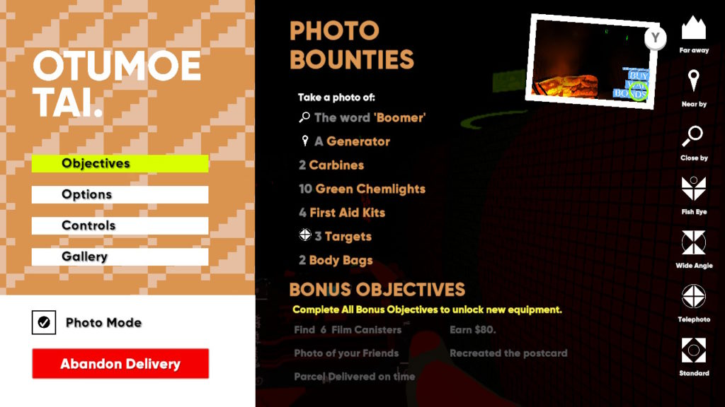 A still from the game showing the photo bounty screen.