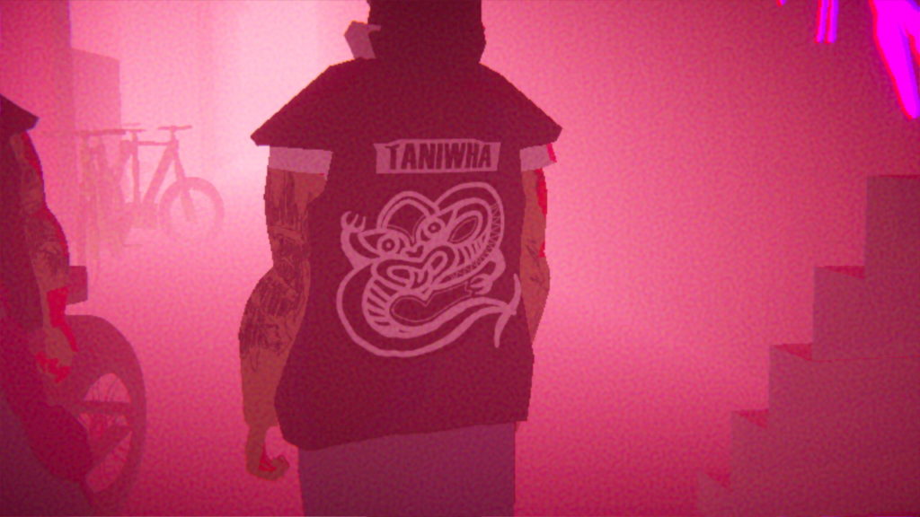 An image from the game showing the back of a character's shirt, which displays a Māori taniwha (water spirit).