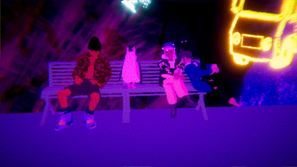 A still from the game showing three people and a penguin sat on a bench, coloured as if seen under UV light.
