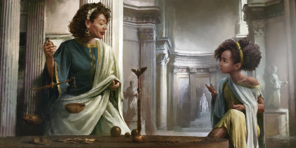 Screenshot from Old World, in which a woman holding a scales is speaking to a young girl