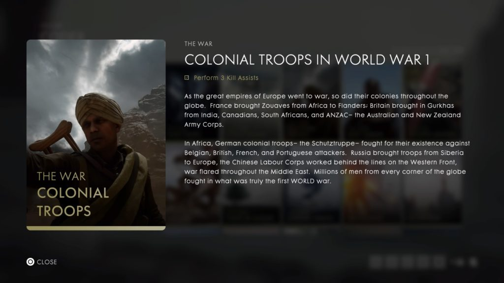"""Screenshot from Battlefield 1's codes entry entitled """"Colonial Troops in World War 1'"""