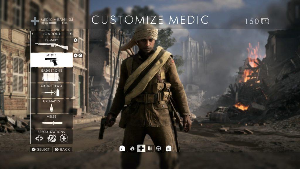 Screenshot from Battlefield 1 multiplayer class selection and customisation screen